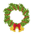 christmas wreath icon decorative home holiday vector image