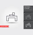 coffee table line icon with editable stroke vector image
