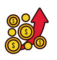 coins dollars with arrow up line and fill style vector image vector image