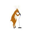 deer singing with microphone cute cartoon animal