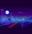 empty highway in night dessert cartoon vector image