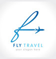 f fly travel company logo concept vector image