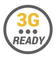 flat 3g logo with ready word and signal level dots vector image vector image