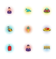 Flying on plane icons set pop-art style vector image vector image