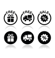 Free gift free delivery sale icons set vector image vector image