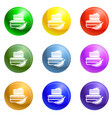 fruit box lunch icons set vector image vector image