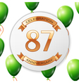 Golden number eighty seven years anniversary vector image vector image
