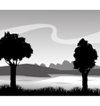 Grass and landscape silhouette design vector image