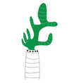 green cactus in flower pot on white background vector image vector image