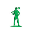 Green Miner Holding Shovel Retro vector image vector image