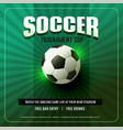 green soccer background flyer design vector image vector image