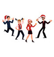 happy people in santa claus hats enjoying vector image vector image