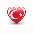 Heart-shaped icon with national flag of Turkey vector image