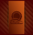 hello summer logo sun over sea waves vector image