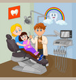 kid sitting on her moms lap sitting on a dentist c vector image vector image