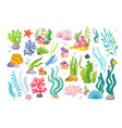large collection with marine objects and fish vector image