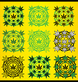 Marijuana leaves geometric design stamps vector image vector image