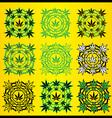 Marijuana leaves geometric design stamps vector image