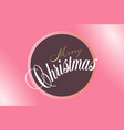 merry christmas hand lettering on pink background vector image vector image