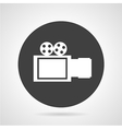 Movie camera black round icon vector image vector image