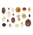 nuts cartoon characters cute mascot persons for vector image