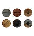old rusty bolts screw hardware rust metal texture vector image