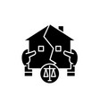 real estate law black icon sign on vector image vector image