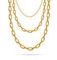 realistic detailed 3d gold chain set vector image vector image