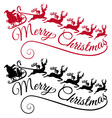 Santa with his sleigh and reindeer vector image vector image