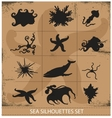 Sea animals silhouettes underwater symbols set vector image