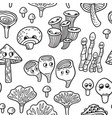 seamless pattern with ink funny mushroom vector image