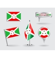 Set of Burundi pin icon and map pointer flags vector image vector image