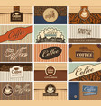 set of business cards on the coffee theme vector image vector image