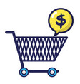 shopping car with dollar symbol inside chat bubble vector image vector image