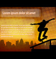 skateboarder silhouette over abstract background vector image vector image