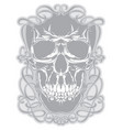 skull with flourishes vector image