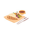 sliced chicken fillet rice and fresh vegetables vector image vector image