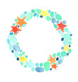 starfish and bubble water wreath watercolor vector image