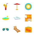 State of Miami icons set cartoon style vector image vector image