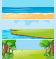three nature scenes at daytime vector image vector image