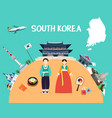 traveling to south korea with landmarks and map vector image
