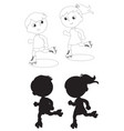 two skating kids black and white vector image vector image