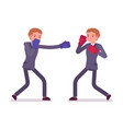 two young businessmen boxing vector image
