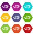 whistle icons set 9 vector image vector image