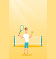 young caucasian tennis player vector image vector image