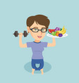 young caucasian woman with fruits and dumbbell vector image