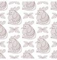 Zentangle Cartoon rooster with mistletoe seamless vector image vector image