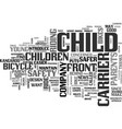 a child carrier for bikes puts safety up front vector image vector image