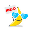 banana face cartoon with emotion sunglasses vector image vector image