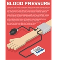 Blood pressure monitor on hand vector image